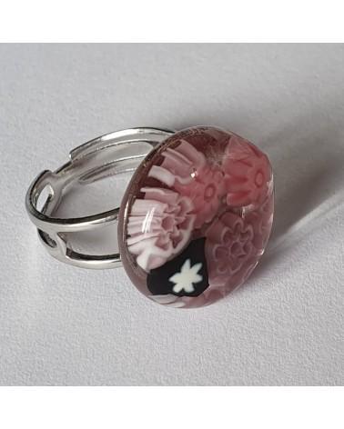 Bague ronde en verre de Murano rose bijoux fantaisies