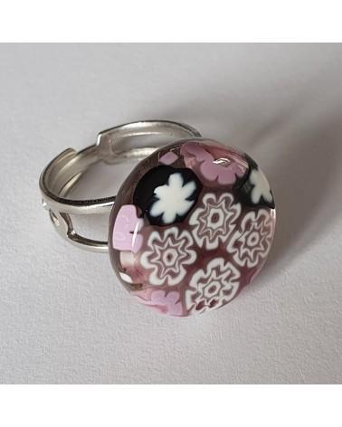 Bague ronde en verre de Murano rose - bijoux made in Italy - fait à la main