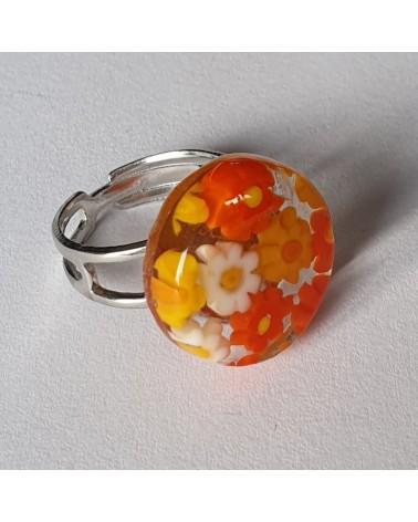 Bague ronde en verre de Murano orange - bijoux fantaisies italiens