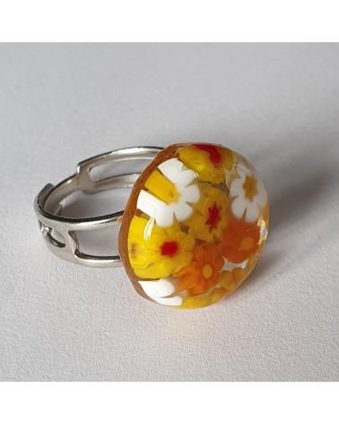 Bague ronde en verre de Murano orange bijoux fait à la main