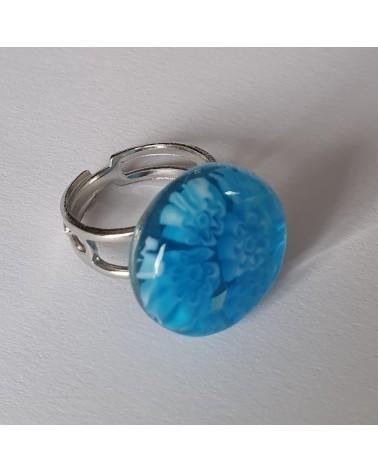Bague ronde en verre de Murano bleu azur bijoux italiens