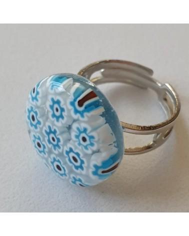 Bague ronde en verre de Murano bleu azur bijoux fantaisies