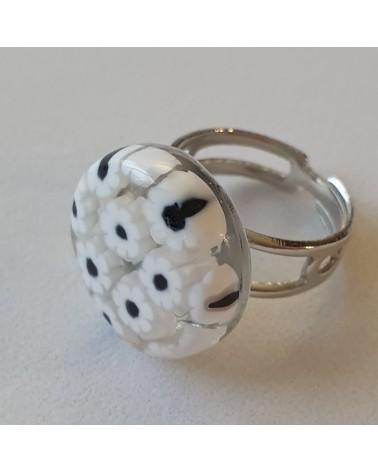 Bague ronde en verre de Murano noir et blanc bijoux made in Italy