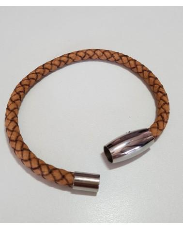 Bracelet en cuir tressé de couleur marron bijoux italiens
