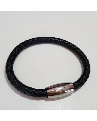 Bracelet mixte cuir tressé couleur noir