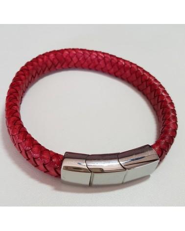 Bracelet en cuir tressé rouge bijoux italiens fait à la main