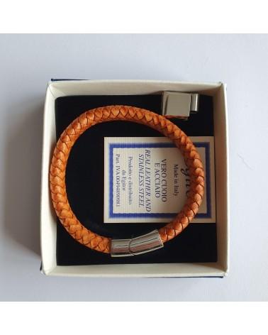 Bracelet tressé en cuir orange bijoux fantaisies
