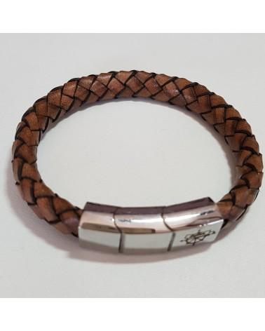 Bracelet tressé en cuir marron bijoux italiens