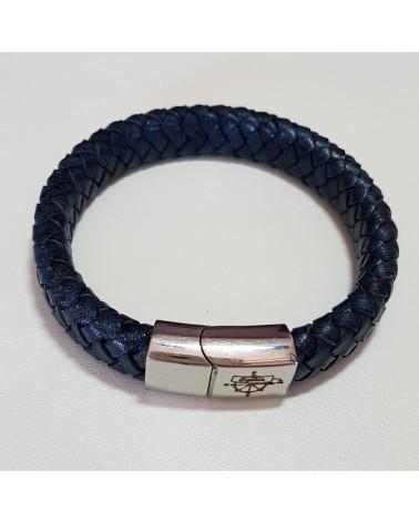 Bracelet tressé en cuir bleu bijoux fantaisies