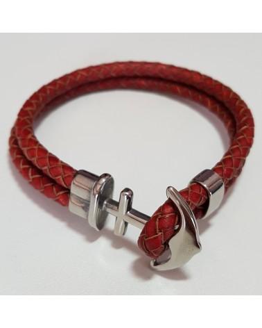 Bracelet ancre de marine en cuir rouge bijoux fantaisies