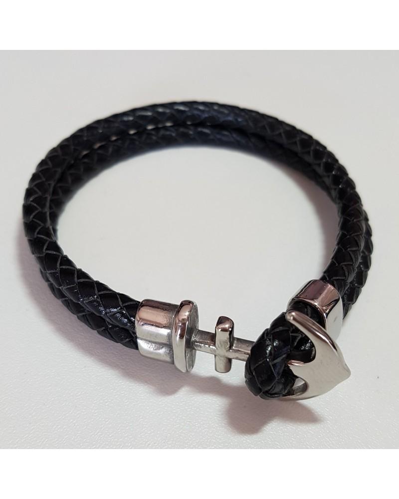 Bracelet ancre de marine en cuir noir bijoux italiens fait à la main