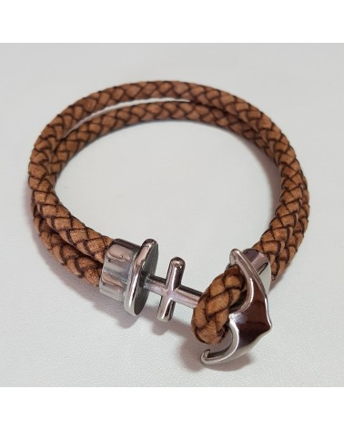 Bracelet ancre de marine en cuir marron bijoux italiens