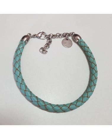 Bracelet en cuir tressé turquoise bijoux fantaisies