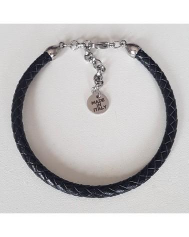 Bracelet en cuir tressé noir bijoux fantaisies
