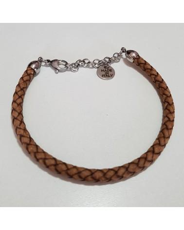 Bracelet en cuir  tressé marron bijoux  fantaisies fait à la main