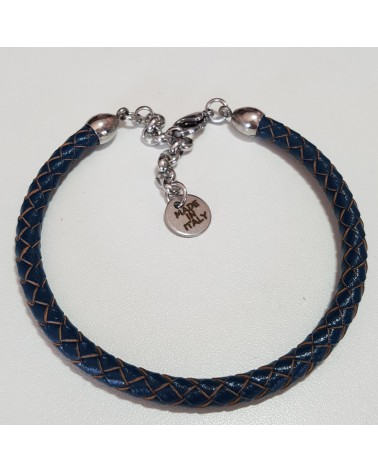 Bracelet en cuir mixte tressé bleu bijoux fantaisies