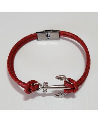Bracelet ancre de marine en cuir tressé rouge bijoux fantaisies