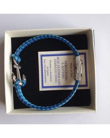 Bracelet ancre de marine en cuir tressé double bleu bijoux fantaisies
