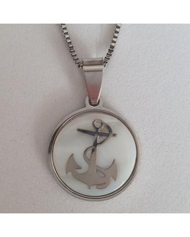 Pendentif Homme Ancre de Navire avec Nacre bijoux fantaisies