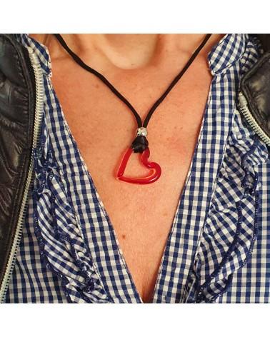 Pendentif cœur rouge en verre de Murano bijoux fantaisies fait à la main
