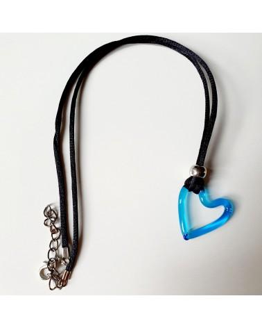Pendentif cœur azur en verre de Murano bijoux fantaisies fait à la main