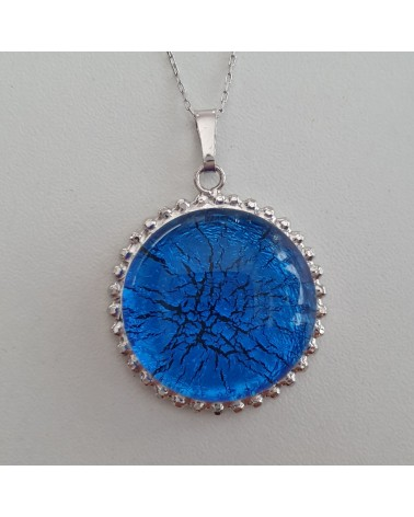 Pendentif en argent 925 et verre de Murano bleu artisans italiens