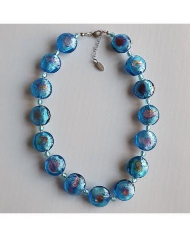 Collier bleu en verre de Murano et argent 925 fait à la main créateurs italiens