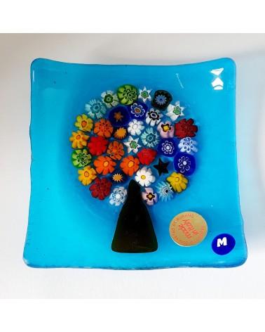 Petit plat carré verre murano arbre de vie azur décoration