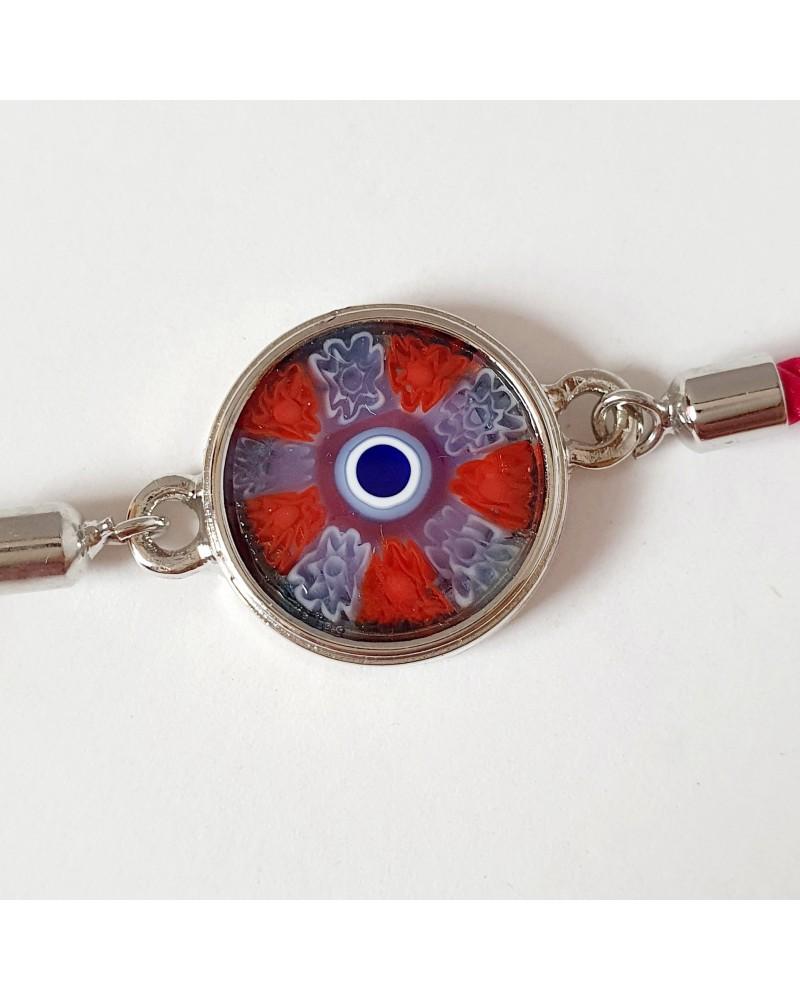 Bracelet cordon et murrina en verre de Murano bijoux fantaisies artisans italiens