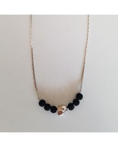 Collier Motif Galet Lave de Volcan  bijoux fantaisies