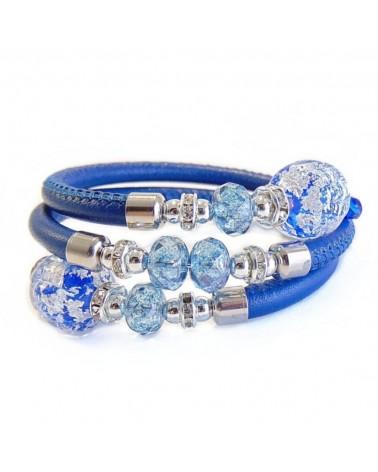 Bracelet Diana en cuir bleu et perles en verre de Murano bijoux fantaisies fait à la main