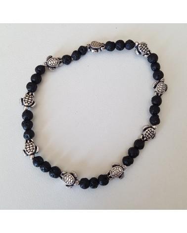 Bracelet lave volcan Sicile motif tortue  bijoux fantaisies