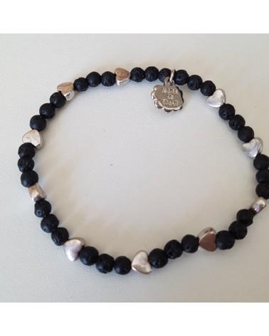 Bracelet lave volcan Sicile motif cœur  bijoux fantaisies