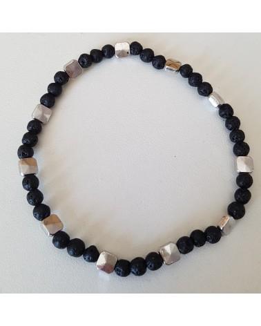 Bracelet lave volcan Sicile motif carré  bijoux fantaisies