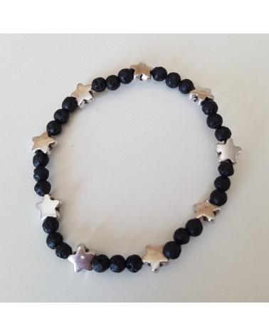 Bracelet lave volcan Sicile motif étoile bijoux fantaisies