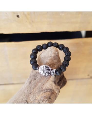 Bague lave volcan Sicile motif poisson bijoux fantaisies