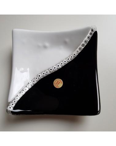 plat carré yin yang verre  Murano objets fait à la main