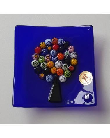 Petit plat carré en verre de Murano arbre de vie bleu marine