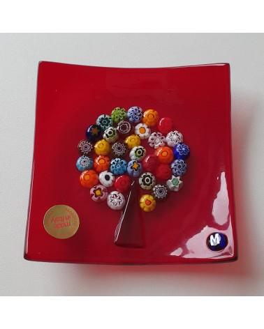 Petit plat carré verre de Murano arbre de vie rouge