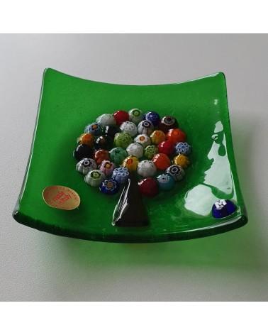Petit plat carré en verre de Murano arbre de vie vert