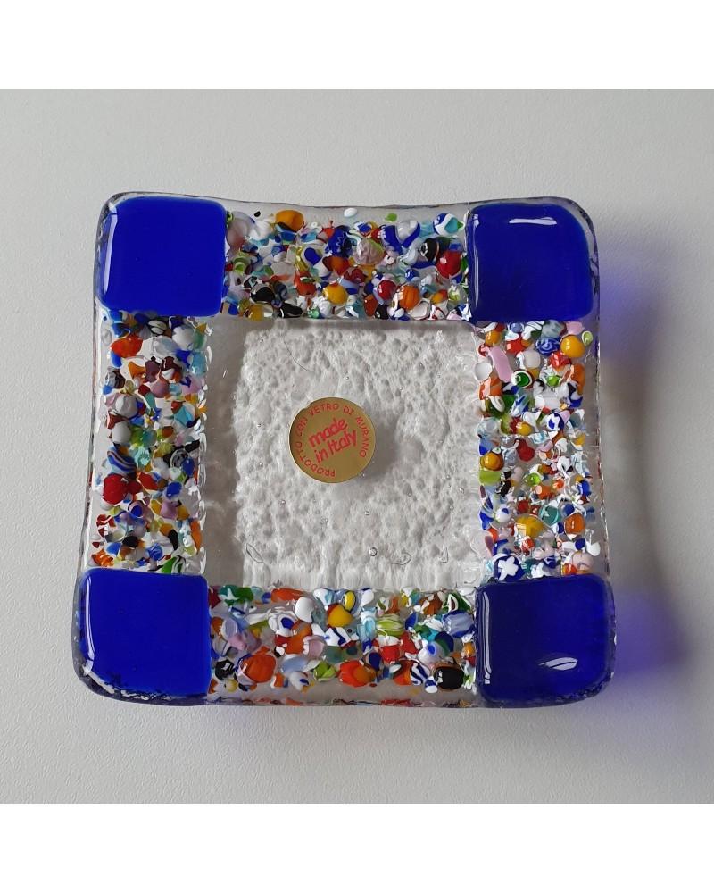 Petit plat carré en verre de Murano maison d'or bleu