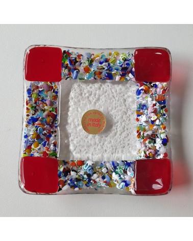 Petit plat carré en verre de Murano maison d'or rouge