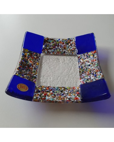 plat carré en verre de Murano maison d'or bleu marine