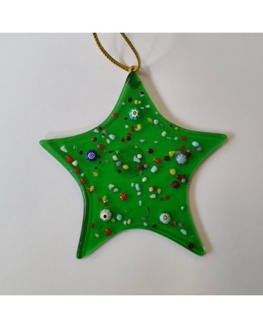 Décoration de Noël en verre de Murano étoile verte objets fait main