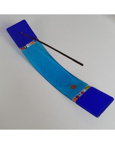 Porte encens horizontal en verre de Murano bleu objets fait à la main