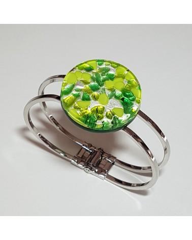 Bracelet vintage en verre de Murano vert bijoux fantaisies italiens