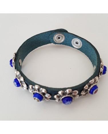 Bracelet cuir véritable avec 6 motifs et murrina bleu bijoux fantaisie verre de Murano