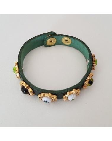 Bracelet cuir véritable avec 6 motifs et murrina vert bijoux fantaisies verre de Murano