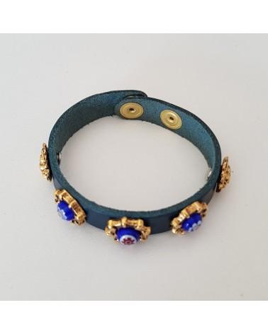 Bracelet cuir véritable avec 5 motifs et murrina bleu bijoux fantaisie verre de Murano