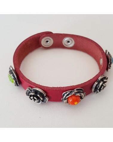 Bracelet cuir véritable avec 5 motifs  et murrina rouge bijoux fantaisie verre de Murano